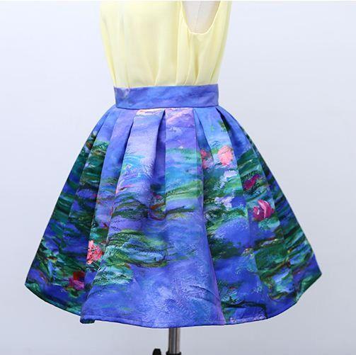 FineArt collectie Vintage stijl impressionisme Monet waterlelies de Lotus donker blauwe bloemen korte rok / mid gezwollen rok/lange kunstenaar rok