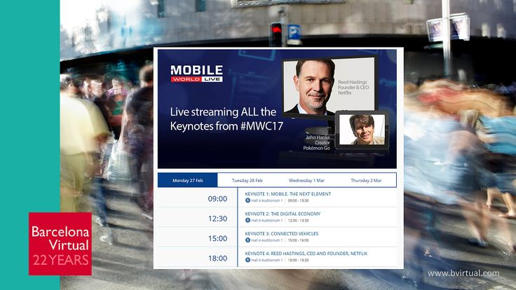 #MOBILEWORLDCONGRESS · If you can't make it to Barcelona or miss a #MWC2017 Keynote Speech, you can follow them all via #streaming. Schedule: http://snip.ly/rxfig