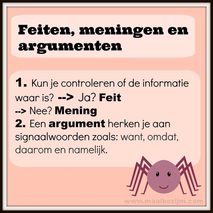 Hoe herken je een feit, mening of argument? http://maaikezijm.com/nederlands/grammatica-en-spelling/