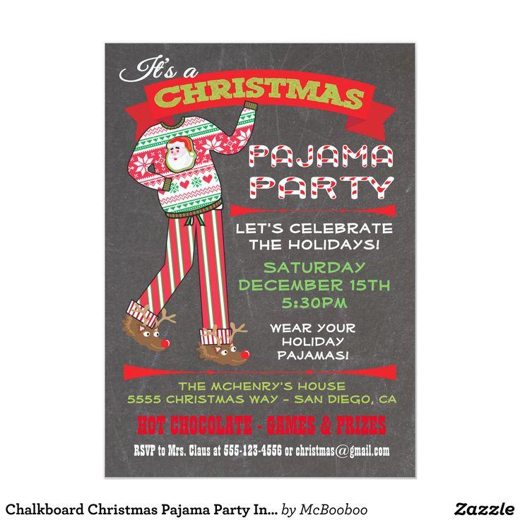Nice Pajama Christmas Party Ideas Part - 13: Chalkboard Christmas Pajama Party Invitations
