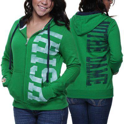 Notre Dame Fighting Irish Ladies Stadium Full Zip Hoodie - Green