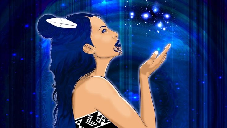 Matariki - the face of god\goddess. In some Maori traditions the star cluster of Pleides is called Matariki, the seven sisters.
