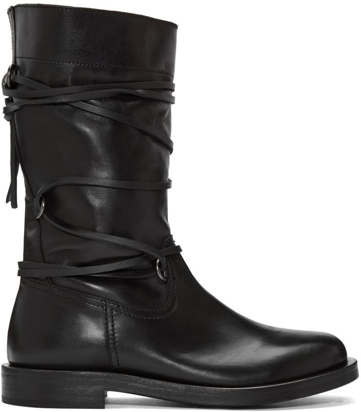 Diesel Black Gold - Black Lace Around Boots - Men's boots  Diesel Black Gold  Black Lace Around Boots 162092M228001 Mid-calf buffed leather boots in black. Round toe. Wraparound lace-up fastening at vamp. Tonal leather and rubber sole. Gunmetal-tone hardware. Tonal stitching. Upper: leather. Sole: leather, rubber. Made in Italy.