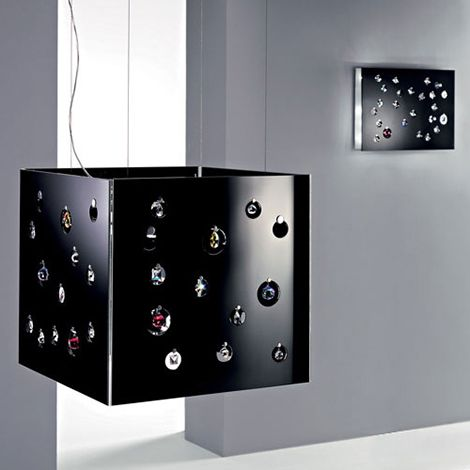 Glass Shade Lighting Fixtures with Swarovski Crystals by Fabian
