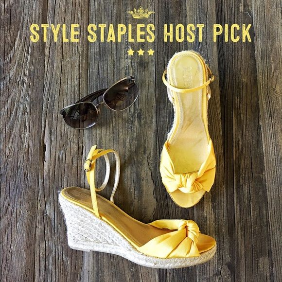 ✨ Sale Host Pick✨J. Crew yellow espadrille wedge Summery yellow satin knotted espadrille wedge with ankle strap. J. Crew Shoes Wedges