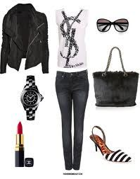 Black Leather Jacket, YSL Top, Black Washed-out Jeans, White Medium-Heel Shoes with Black Stripes, Faux Fur Handbag, Red Chanel Lipstick, Big Watch and Sunglasses.