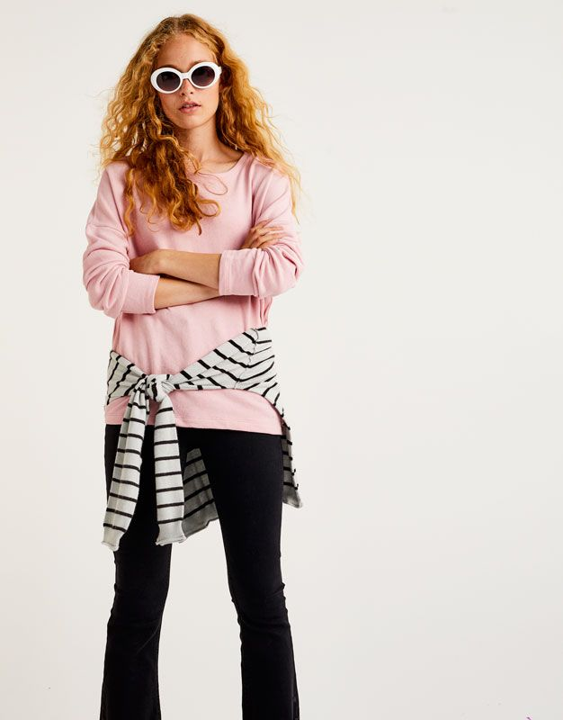 Bluză sport simplă cu guler rotund - Hanorace - Îmbrăcăminte - Femei - PULL&BEAR România