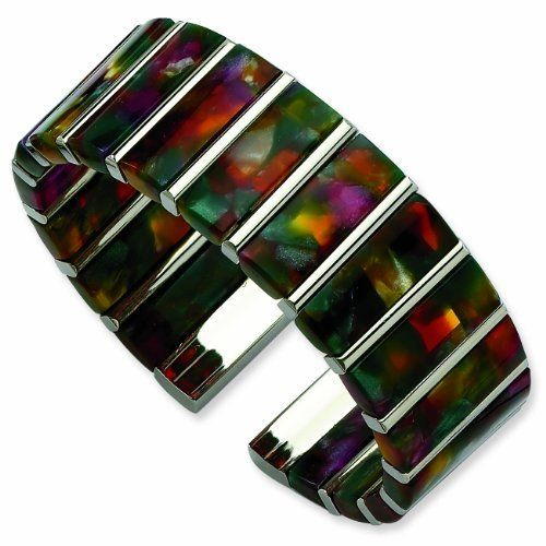 Stainless Steel Cotton Fiber Cuff Bracelet RedBoxJewels.com. $54.95