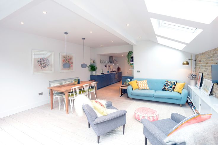 Stroud Green, N5, London, Side Return Extension, Kitchen Extension, Ground Floor Flat Extension, Bi-Fold Doors, Kitchen, Rear Extension, Roof-lights, Pitched Roof, Side Return Ideas, Kitchen Extension Ideas, Dining Area Ideas, Living Area Ideas, Open Plan Living, Pendulum Lights, Daylight
