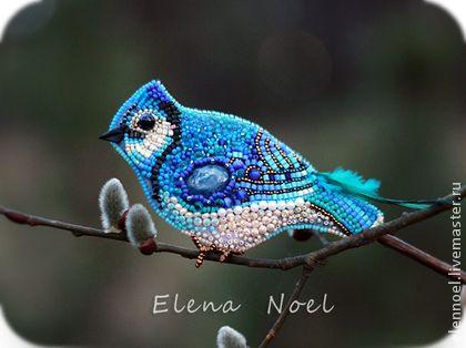 Синияя птичка счастья вышитая брошь. - синий,птица счастья,верба,птичка