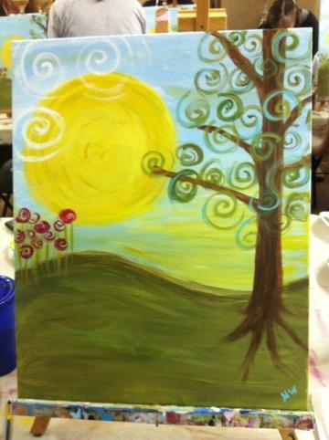 easy diy swirly landscape painting