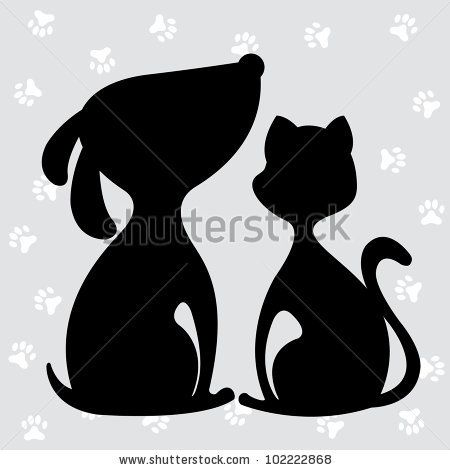 cat and dog silhouette, design element, vector illustration - stock vector