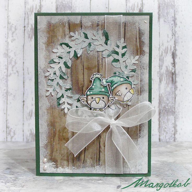 Vánoční+přání+ptáčci+zelení+Přáníčko+z+papíru+velikost+a6.