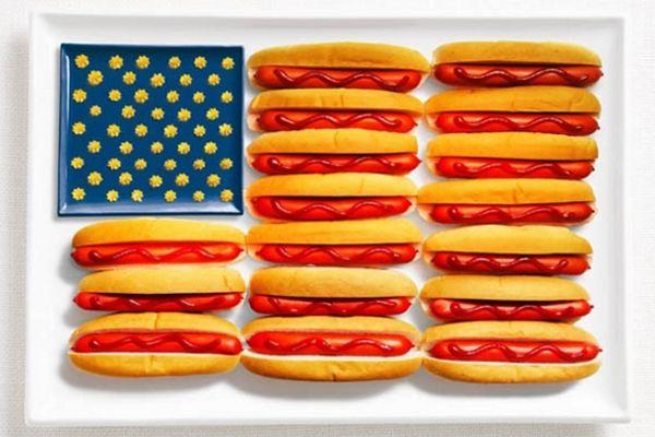 Amerika Sosisli sandviç, ketçap, hardal