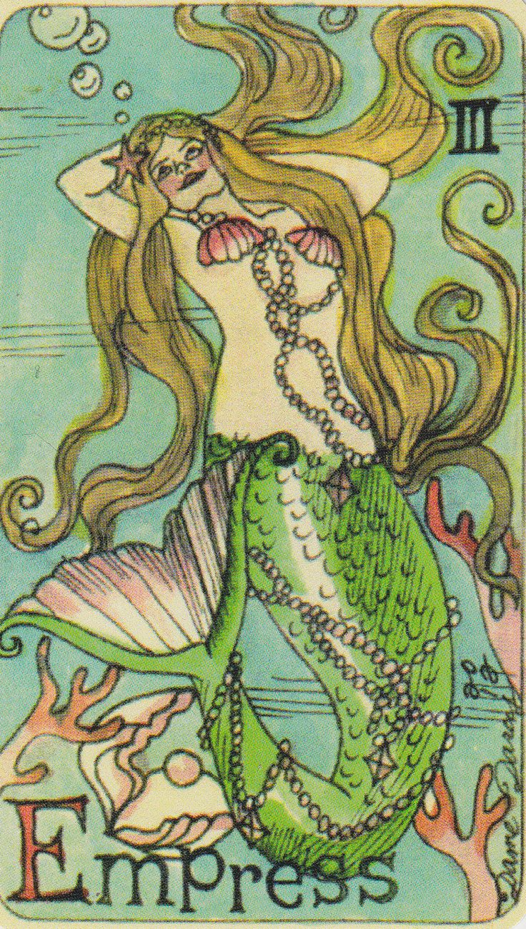 Dame Darcy Mermaid Tarot - The Empress. Major Arcana. tarot cards. divination. fortune telling. oracle. Get her beautiful deck at her DameDarcy shop on Etsy!