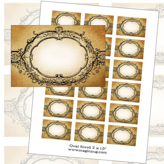 Oval Scroll Antique Victorian Aged Blank Labels Set digital