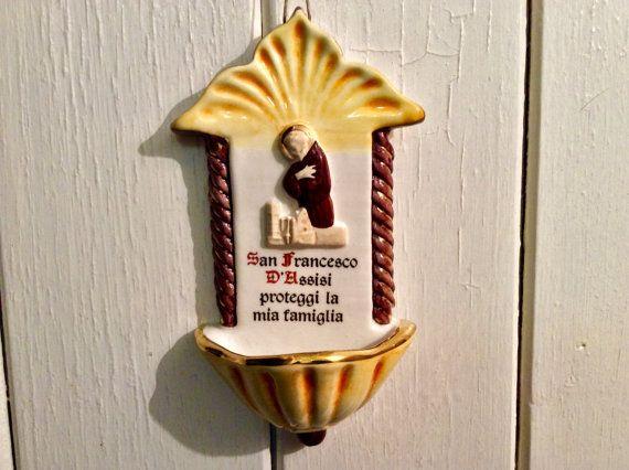 St. Francis van Assisi wijwatervat - Vintage アッシジ聖水フォントのセント・フランシス - ヴィンテージ  Een…