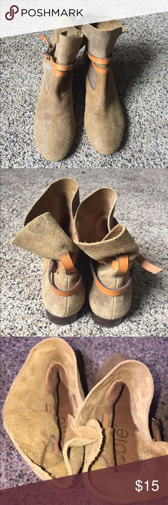 Nicole leather booties 6 1/2 Very comfortable, flat leather booties. Leather, is a camel/dry green color, with a adjustable tan leather belt strap. These booties are pre-loved but, in good condition. Shoes Ankle Boots & Booties