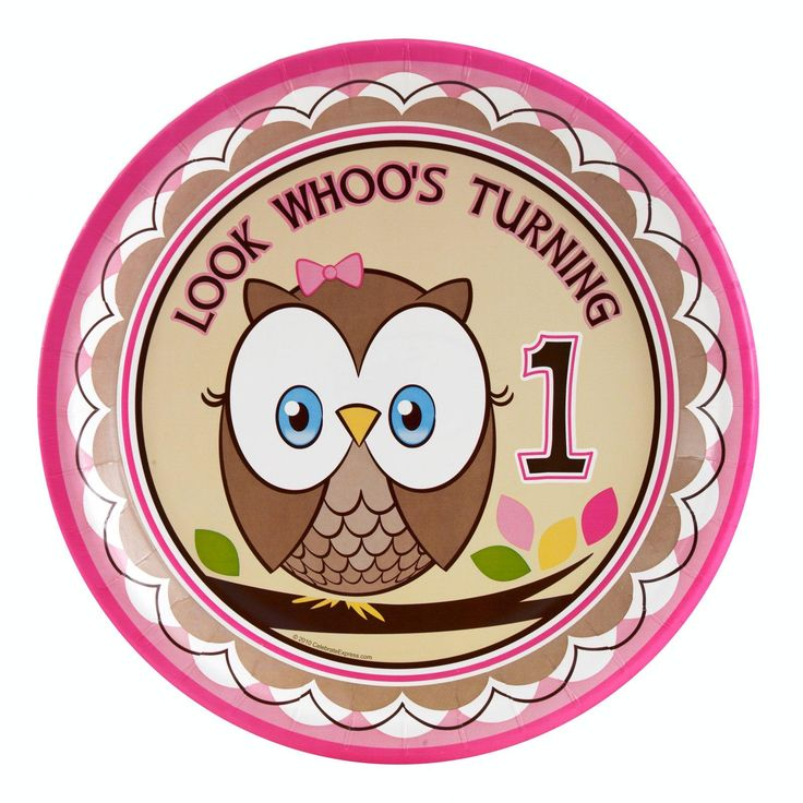 Look Whoo's 1 Pink Dinner Plates from BirthdayExpress.com