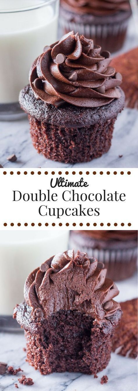 Chocolate Lover? These double chocolate cupcakes are for you. Ridiculously fluffy, soft & moist & piled high with chocolate frosting
