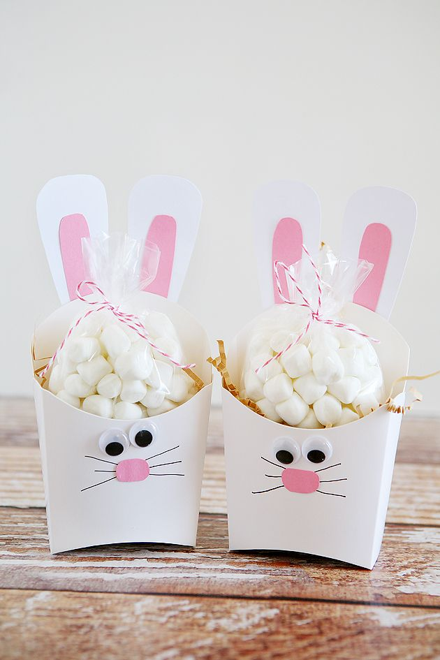 Cute bunny Easter basket idea. Add your treats inside!