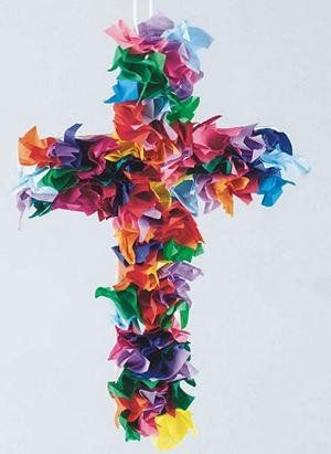 Tissue Paper cross for Lent - this could be an ongoing activity where the children add a tissue paper piece for each act of generosity, thanksgiving or act of kindness they witness or participate in during the season Lent so that by Easter it is a burst of colour.