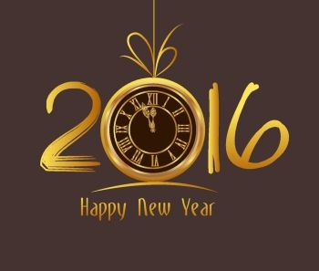 Happy New Year 2016  Old clock: