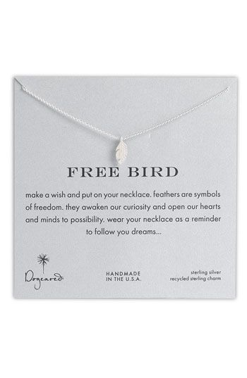 Dogeared 'Reminder - Free Bird' Feather Necklace available at #Nordstrom I love all of dogeared things!! It's a must!