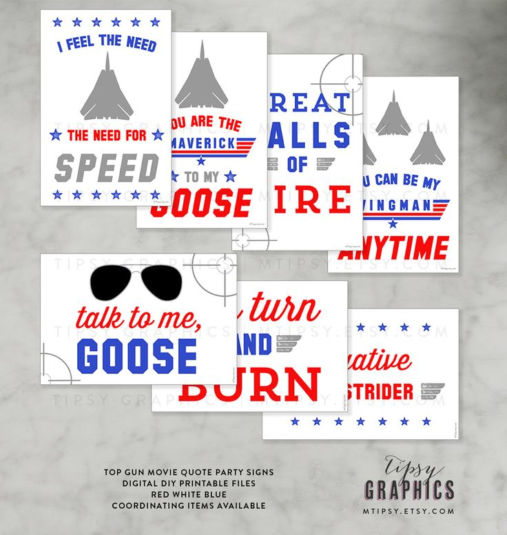 Top Gun Party Signs. Fighter Jet Airplane Birthday Party. Maverick Goose Ghost Rider.   Great Balls of Fire I Feel the Need, the Need for Speed Talk to me, Goose  Digital DiY Print from Home by Tipsy Graphics. by MTipsy on Etsy