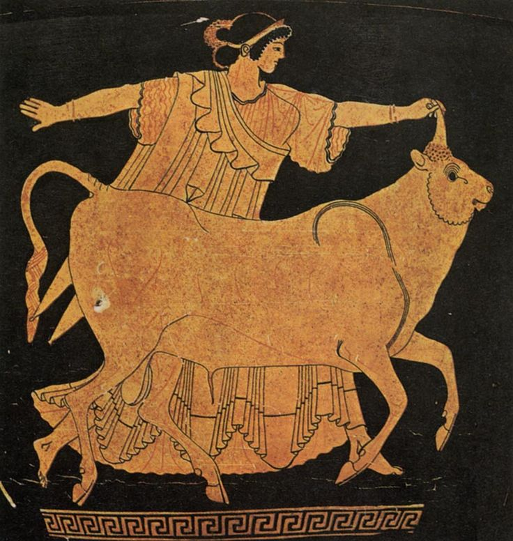 Zeus as bull and Europe.  Red-figure krater.  Clay. Ca. 450 B.C.  Tarquinia, National Archaeological Museum.