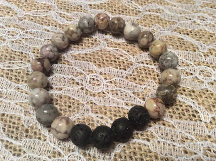 Aromatherapy lava bead diffuser bracelet for essential oils-8mm Light grey beads by MickandNick on Etsy