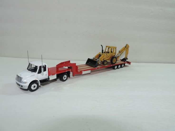 Custom Toy Semi Trucks : Dcp custom white red ih durastar w axle gooseneck
