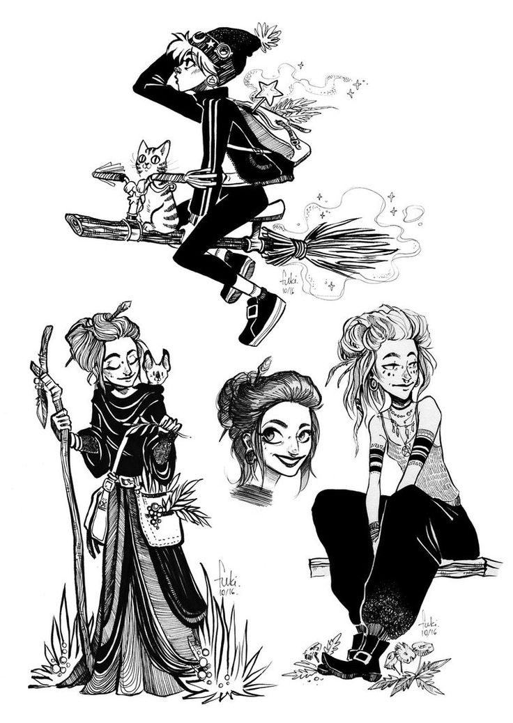 inktober - witches by Fukari