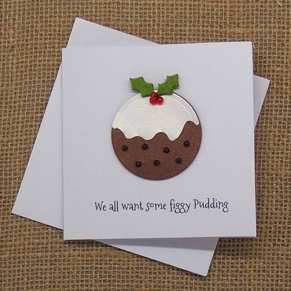 Small Christmas Card Christmas Figgy Pudding With Holly And Etsy Christmas Cards Handmade Small Christmas Cards Christmas Cards
