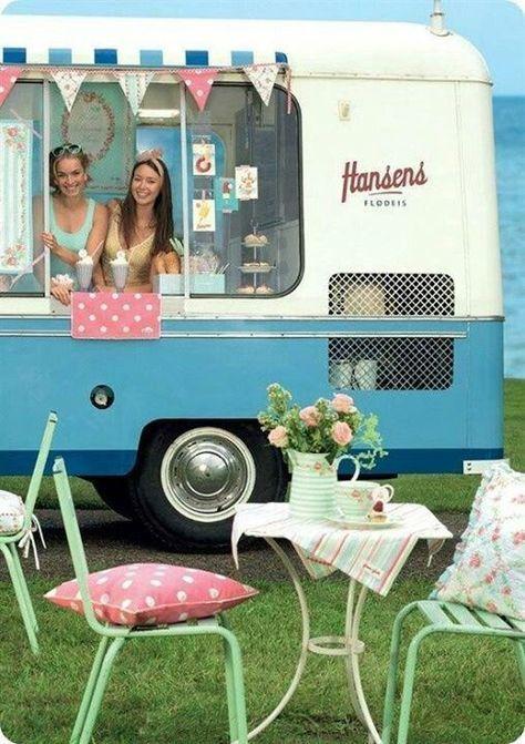 Weinlese-Nahrungsmittel-LKW-Entwurfs-Eiscreme Van 54+ Ideas   – Ice cream, you scream… we all scream for ice cream