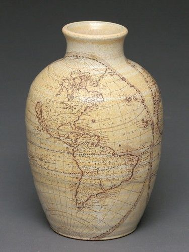"⇚ Map Quest ⇛ maps & globes in history, art, craft & decor - World Map Vase - Brandon ""Fuzzy"" Schwartz"