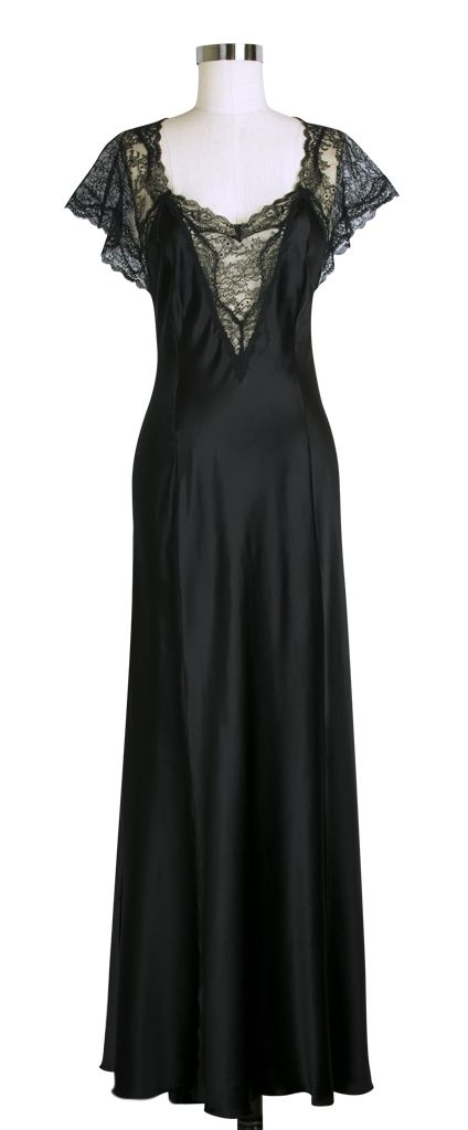 Jane Woolrich Fishtail Nightgown | Vintage Inspired Nightgown | Black