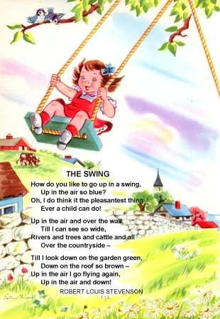 The Swing Poem by Robert Lewis Stevenson Traditional Tune Illustrated by Esther Friend, p. 132 of Childcraft, Volume 1, The Poems of Early Childhood (1954) Originally Published in A Child's Garden of Verses