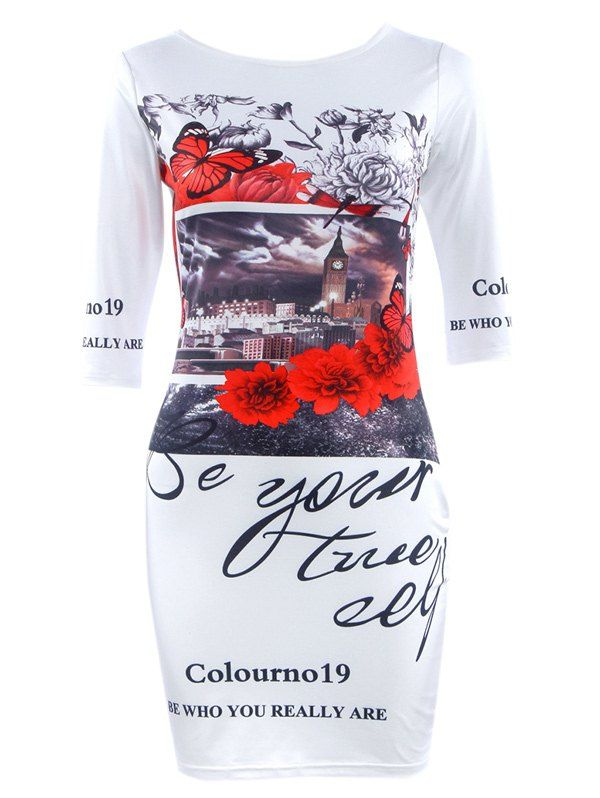 $8.76 Chic Women's Round Neck Flower Print Short Sleeve Dress