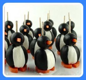 Penguin olive appetizer Penguin Olive Snacks -- Here's how to make these cute little veggie penguins:  Ingredients: (makes 18 penguins)  18 jumbo black olives, pitted  1 (8 ounce) package cream cheese, softened  18 small black olives  1 large carrot  18 toothpicks