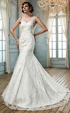 Trumpet/Mermaid Jewel Lace And Tulle Wedding Dress(604693)  – USD $ 299.99