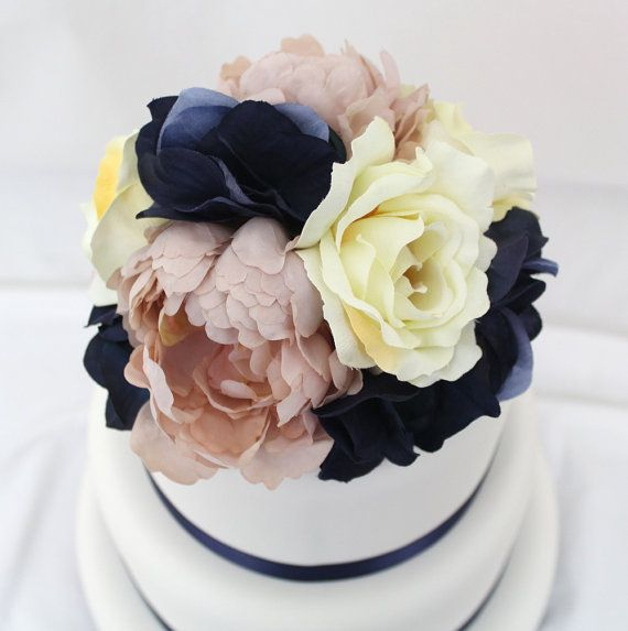 artificial flower wedding cake toppers wedding cake topper pink peony navy hydrangea ivory 10843