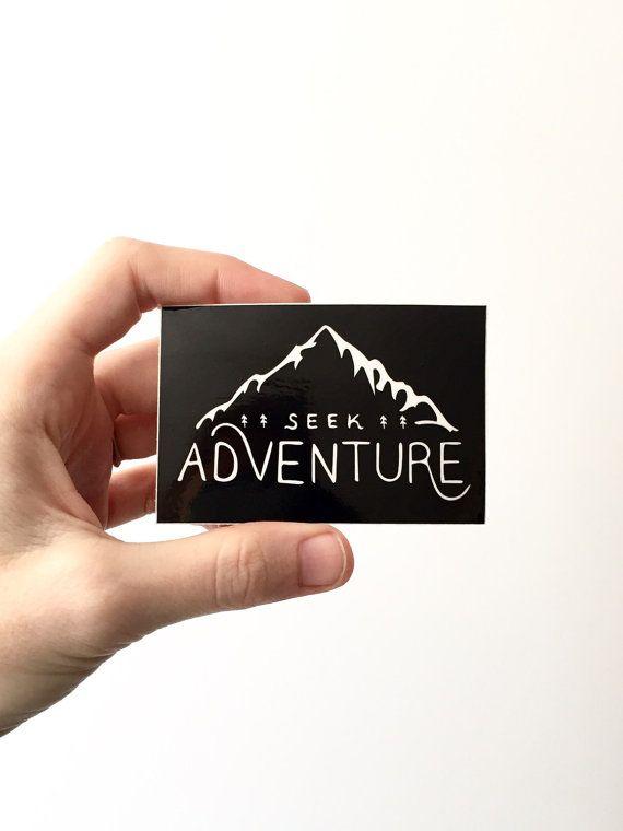Vinyl Sticker . Seek Adventure . Hiking Gear Laptop by BadonHill