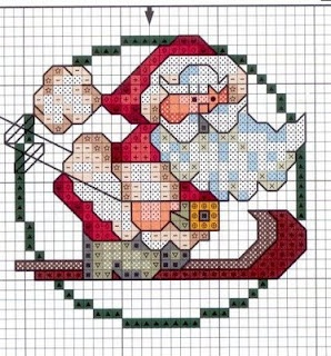free cross-stitch skiing santa ... no color chart available, just use pattern…