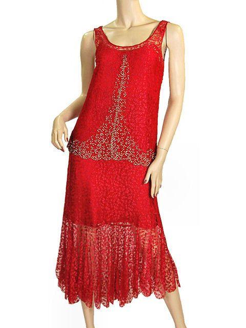 Vintage 1920s Red Lace Flapper Dress