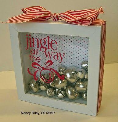 homemade gifts: Christmas Crafts, Homemade Christmas Gifts, Gifts Ideas, Jingle Belle, Homemade Gifts, Glasses Blocks, Shadows Boxes, Christmas Decor, Nancy Riley