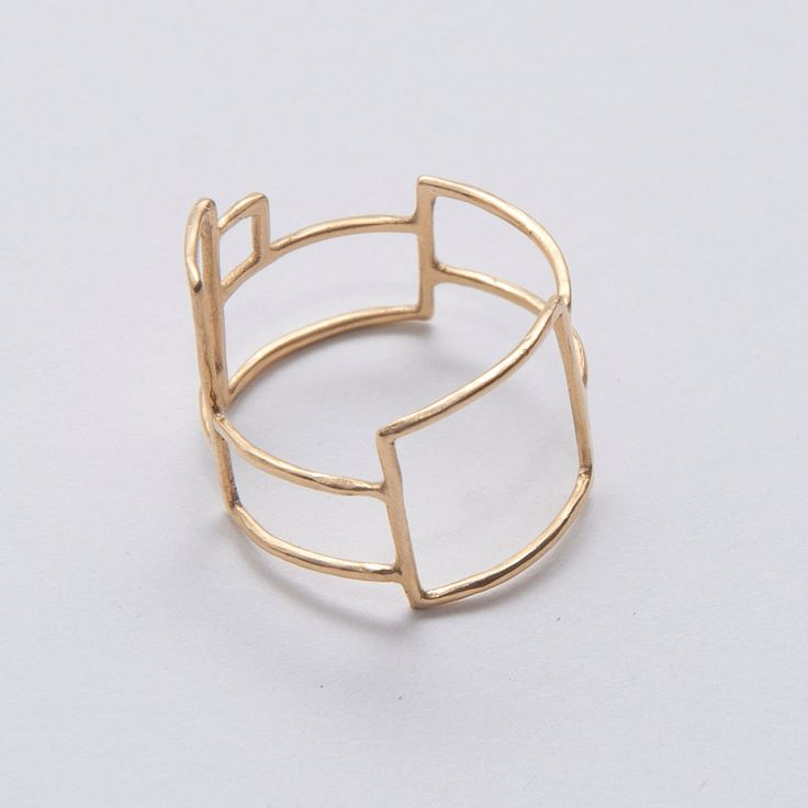"gold ""grid ring no. 1"", handmade by Doron Merav"