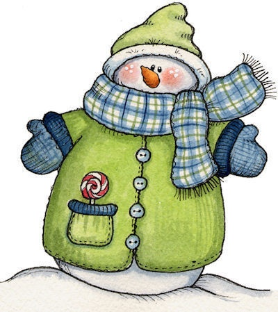 snowman in a green coat and hat-- could use for card or scrapbook page