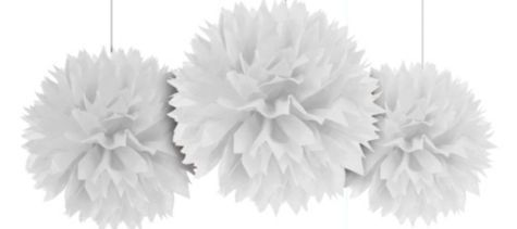 White Fluffy Decoration 16in 3ct - Paper Decorations - Birthday Decorations - Birthday Party Supplies - Categories - Party City Canada