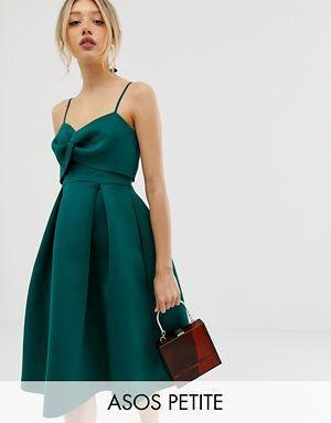 f8af500bbe98 ASOS DESIGN Petite cami bow crop top prom midi dress | fancy clothes ...